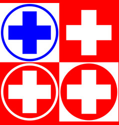 Medical cross set of medical symbols options vector