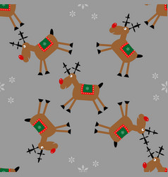 merry christmas seamless pattern with fanny deer vector image