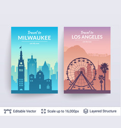milwaukee and los angeles famous city scapes vector image