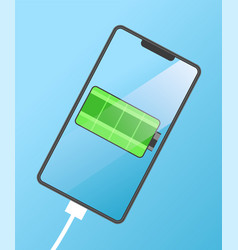 modern mobile phone with green battery vector image