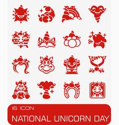 National unicorn day icon set vector