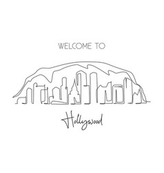 One continuous line drawing hollywood city vector