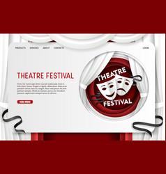 paper cut theatre festival landing page vector image