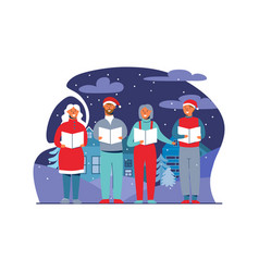 people in santa hats singing christmas carols vector image