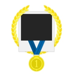 Photo frame with gold medal vector image