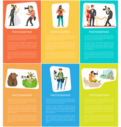 Photographers with camera vertical bright banners vector