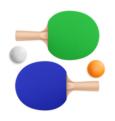 ping pong rackets and ball table tennis equipment vector image