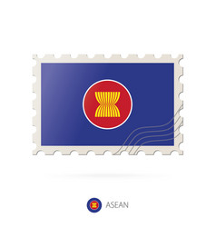Postage stamp with image asean flag vector