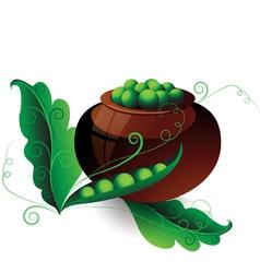 Pot of green peas vector