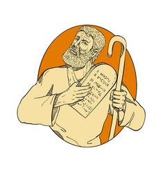 Prophet moses ten commandments drawing color vector