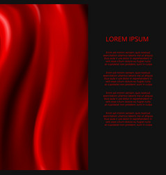 realistic red silk fabric abstract banner design vector image