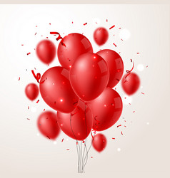 red balloons with confetti and background vector image