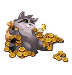Rich raccoon loan shark lies on a pile gold vector