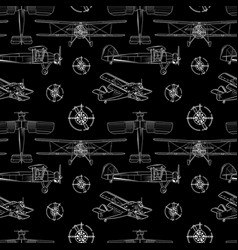 Seamless background with vintage airplane in vector