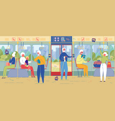 Senior people riding bus commuter transportation vector