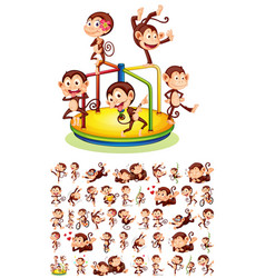 set different monkeys vector image
