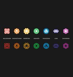 Set seven chakra symbols with names vector