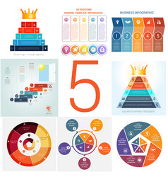Set universal templates elements infographics vector