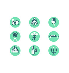 set wedding icons with diamond wedding ring woman vector image