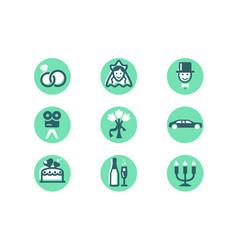 set wedding icons with diamond wedding ring woman vector image
