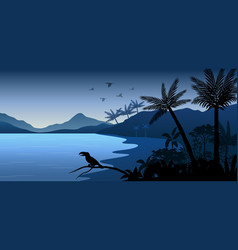 Silhouette animals and view in forest vector