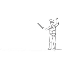 single one line drawing a policeman in full vector image