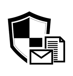 single shield and message envelope icon vector image