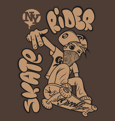 skate rider t-shirt graphics vector image