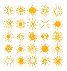Sun doodle icons set vector