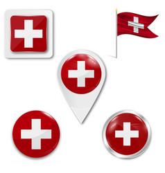 Switzerland flags set 5 wavy 3d cloth pennants vector
