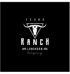 texas longhorn country western bull cattle vintage vector image