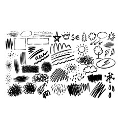 textures doodle hand-drawn collection vector image