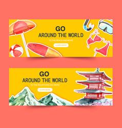 Tourism day banner design with surfboard bikini vector