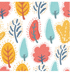 trees on the white background seamless pattern vector image