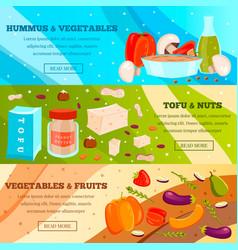vegetarian food flat banners vector image