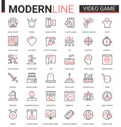 Video game thin red black line icon vector