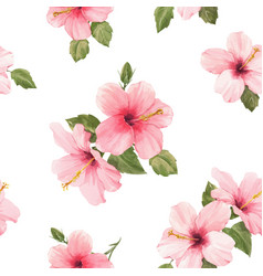 watercolor hibiscus pattern vector image