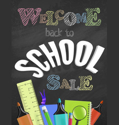 Welcome back to school sale colorful concept vector