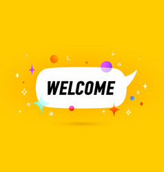 welcome banner speech bubble vector image