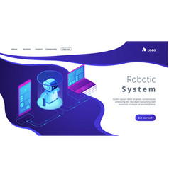 Wifi controlled robotics isometric3d landing page vector