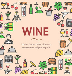 wine drink signs round design template line icon vector image