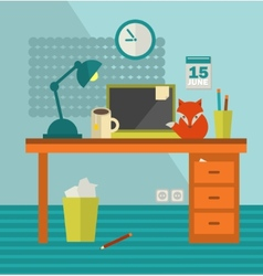 Workplace with notebook and cute red fox near vector
