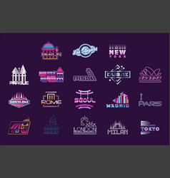 World cities labels set logo graphic templates vector