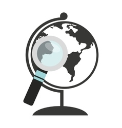 world planet with magnifying glass vector image