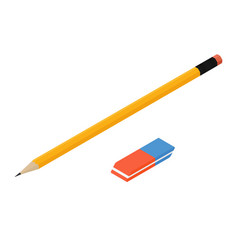 yellow lead pencil and orange with blue eraser vector image