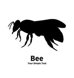 a silhouette of a black bee vector image