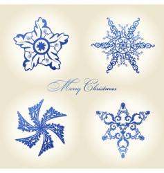 Christmas snowflakes vintage decor blue vector image
