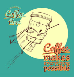 retro vintage coffee background for greeting card vector image vector image