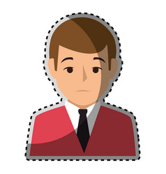 sticker colorful half body man formal style vector image vector image