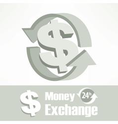 Dollar symbol in grey vector image vector image